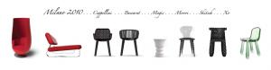 El sillon Tulip es el primero por la izquierda. La silla Sparkling la sexta y la Babel la última.