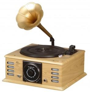 Un giradiscos Elta, que recuerda a los antiguos gramófonos, con altavoces incorporados.