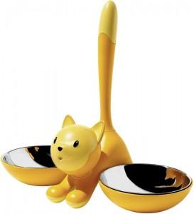 Comedero para gatos de color amarillo. Fácil de mover y limpiar y muy bonito.